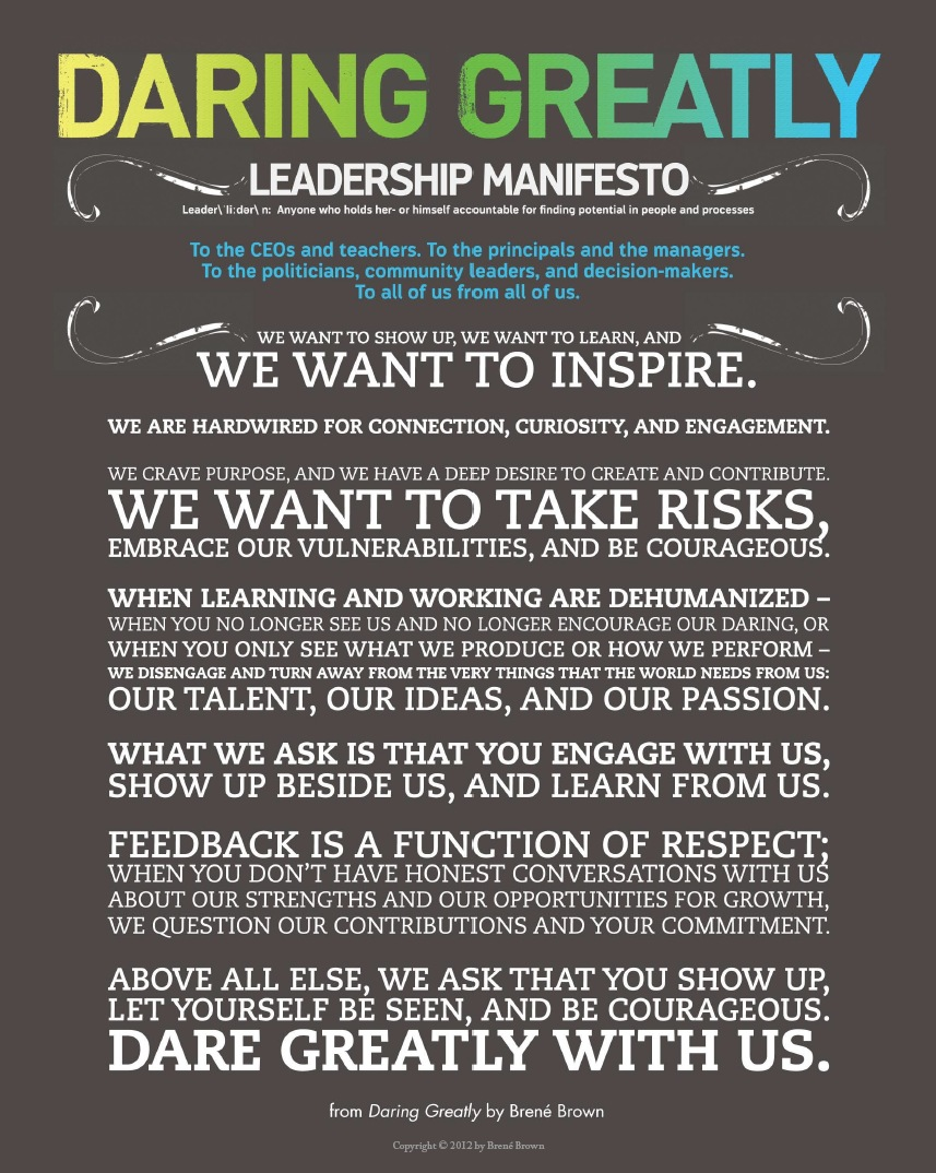 Daring Greatly Leadership Manifesto
